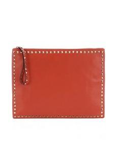 Valentino orange leather 'Rockstud' large clutch bag