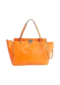 Valentino orange leather 'Rockstud' medium tote bag