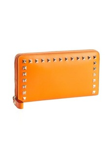 Valentino orange leather studded detail continental wallet