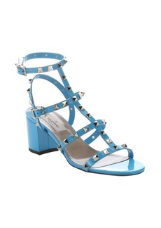 Valentino parrot blue patent leather 'Rockstud' t-strap sandals