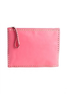 Valentino pink leather 'Rockstud' studded trimmed large clutch