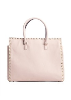 Valentino pink leather 'Rockstud' top handle small tote