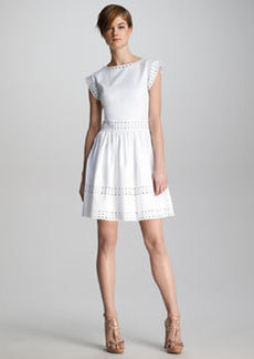 Valentino Pique-Knit Sangallo Eyelet Dress