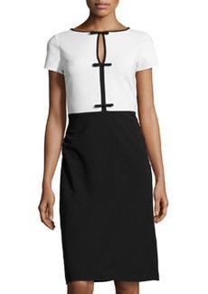 Valentino Ponte Bow-Detail Dress, Black/White