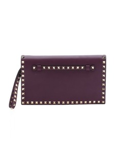 Valentino Pre-owned aubergine leather 'Rockstud' studded accent wristlet cutch