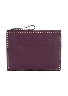 Valentino purple leather 'Rockstud' oversize clutch