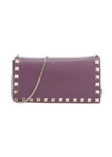 Valentino purple leather 'Rockstud' studded detail chainlink shoulder bag