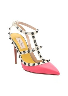 Valentino raspberry matte leather 'Rockstud' t-strap pumps