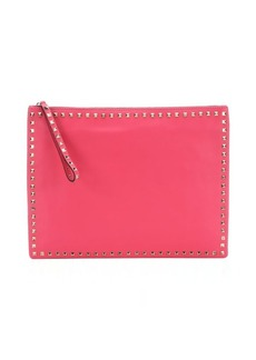 Valentino raspberry pink leather 'Rockstud' large clutch bag