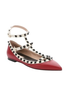 Valentino red and ivory leather 'Rockstud' t-strap ballerina flats