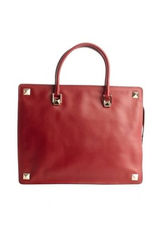 Valentino red calfskin studded large tote