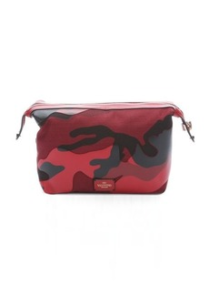 Valentino red camo canvas cosmetic bag