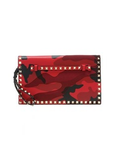 Valentino red camouflage leather and canvas 'Rockstud' wristlet clutch