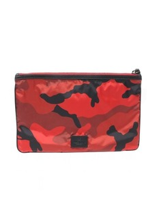 Valentino red camouflage nylon flat clutch