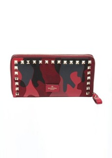 Valentino red leather and canvas camouflage continental studded wallet