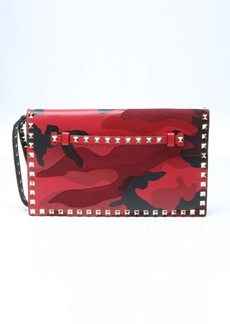 Valentino red leather and canvas camouflage 'Rockstud' clutch