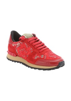 Valentino red leather and floral lace sneakers
