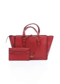 Valentino red leather braided top handle tote