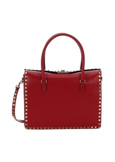 Valentino red leather 'Rockstud' convertible top handle bag