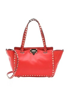 Valentino red leather 'Rockstud' convertible trapeze tote