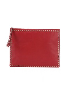 Valentino red leather 'Rockstud' large clutch bag