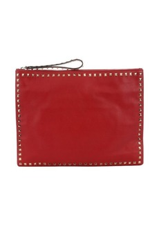 Valentino red leather 'Rockstud' oversize clutch