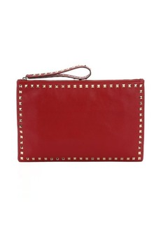 Valentino red leather 'Rockstud' oversized zip clutch