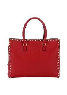 Valentino red leather 'Rockstud' small tote bag
