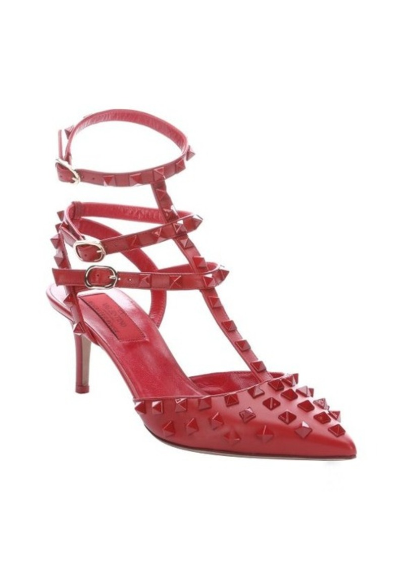 valentino red leather 39 rockstud 39 triple ankle t strap pumps shop it to me all sales in one. Black Bedroom Furniture Sets. Home Design Ideas