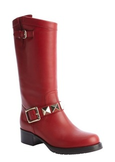 Valentino red leather studded buckle detail boots