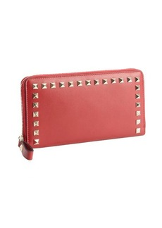 Valentino red leather studded detail continental wallet
