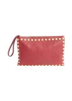 Valentino red leather studded trim large clutch