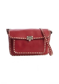 Valentino red leather tassel detail gold stud detail shoulder bag