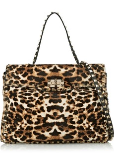 Valentino Rockstud leopard-print calf hair shoulder bag