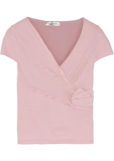 Valentino Rose-appliquéd stretch-knit top