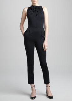 Valentino Rose Applique Fitted Jumpsuit, Nero