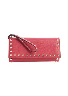 Valentino rose leather 'Rockstud' studded detail wallet