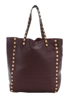 Valentino ruby leather gryphon studded top handle tote