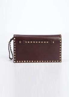 Valentino ruby leather 'Rockstud' studded accent wristlet cutch