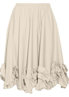 Valentino Ruffle-trimmed cotton-blend skirt