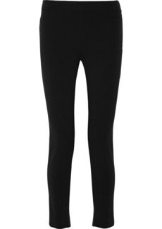 Valentino Satin-trimmed stretch-crepe straight-leg pants