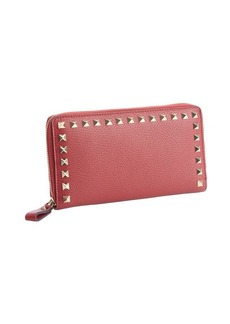 Valentino scarlet leather studded detail continental wallet