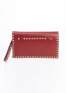 Valentino scarlett leather 'Rockstud' studded accent wristlet cutch