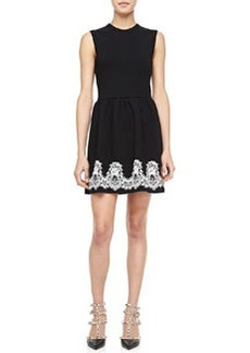 Valentino Sleeveless Crewneck Bambolina Lace-Trim Dress