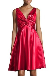 Valentino Sleeveless Plunging Satin Dress, Red