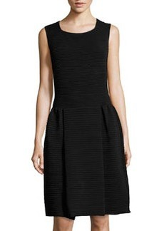 Valentino Sleeveless Ribbed Fit-And-Flare Dress, Black
