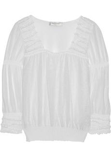 Valentino Smocked cotton-blend top