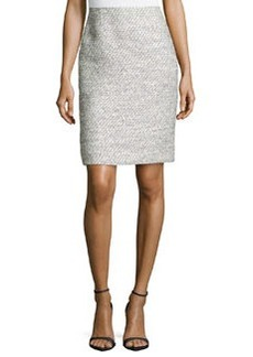 Valentino Straight Tweed Skirt, Black/White
