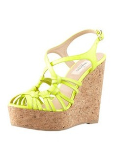 Valentino Strappy Patent Cork Wedge Sandal, Yellow