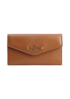 Valentino tan leather logo stamp continental wallet